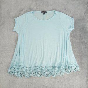 4/$25 Freshman 1996 Light Blue Crochet Lace Top